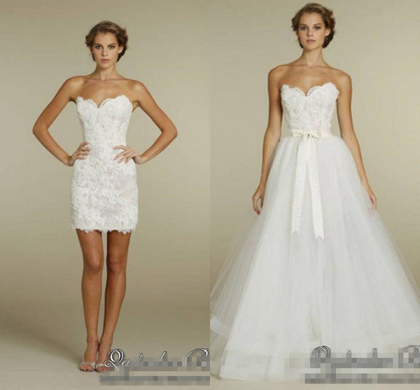 2018 Elegant Sweetheart Two in One Wedding Dresses with Detachable Tulle Skirt 2018 Two Pieces summer holiday Beach short Bridal Gowns