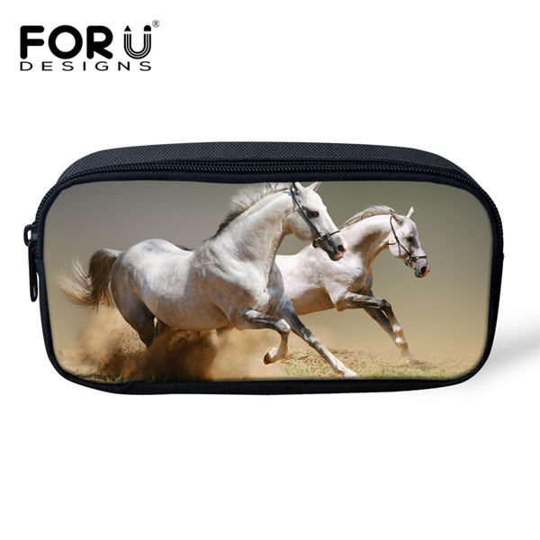 FORUDESIGNS Children Pen Pencil Case Crazy 3D Horse Animal Pouch Pencil Holder Pen Stationary Bag For Student Woman Cosmetic Bag