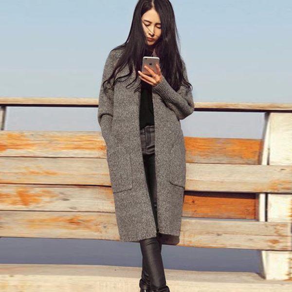 Kadın Kazak Hırka Sonbahar Kış Moda Rahat Kalın Büyük Cep Kadın Uzun Coat Ile Örgü Örgü Hırka Kazak FS5681