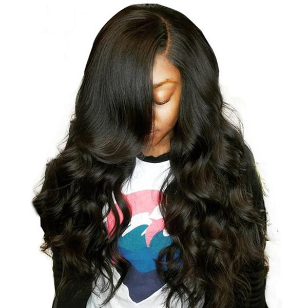 Peluca llena del cordón del pelo humano malasio de la onda de agua americana africana negra sin procesar 8A Peluca delantera del cordón de la calidad mojada y ondulada de calidad superior rayita natural