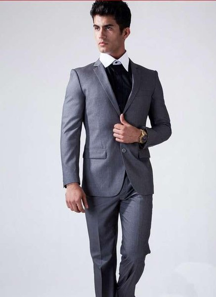 Italian Slim Fit Grey Wedding Suits Men Two-Button Groom Tuxedos Wedding Groomsman Suit Mens 2 Pieces Suits (Jacket+Pants)
