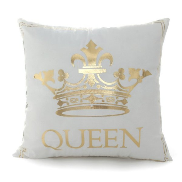 45x45cm Bronzing Pillowcase King Queen Letter Moon Lip Cute Throw Pillow Covers Decorative Square Pillowcase 2018 New Year Pillow Case
