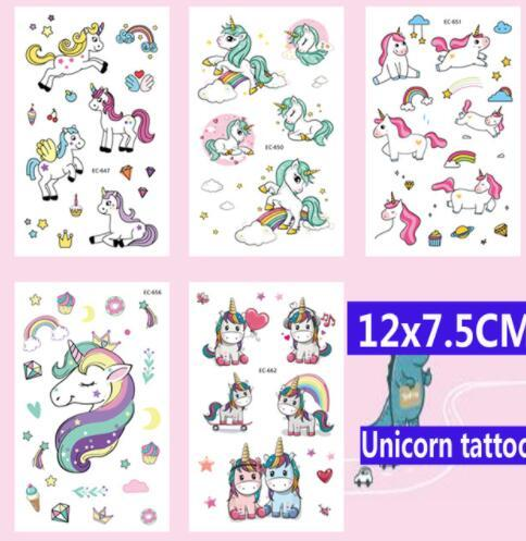 12x7.5CM Unicorn Tatoo stickers For Kid Cute nicorn horse cartoon kids children body art make up tools Tattoo Paste KKA6248