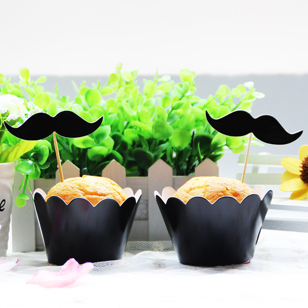 cute paper cupcake 12 pcs wrappers+12pcs toppers moustache beard kids favor birthday party baby shower decoration supplies