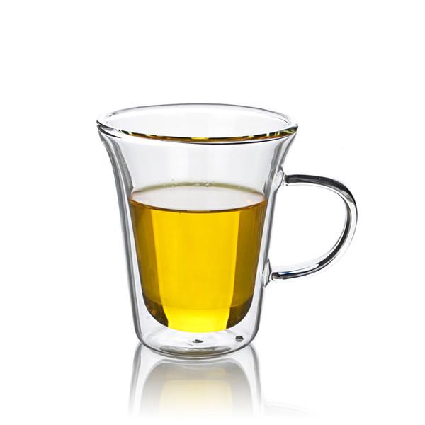 Lots Clear Heat Resistant Glass Double Wall Flared Tea Coffee Cup 250ml China Gongfu Tea Mugs Drop Shipping