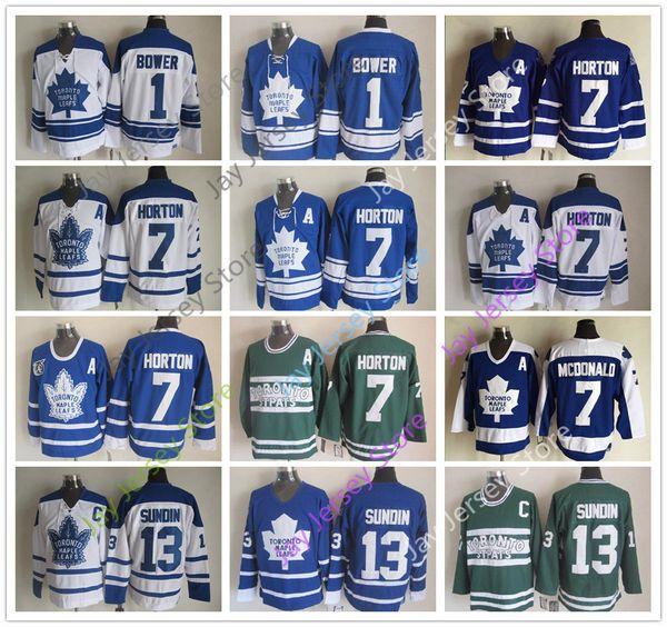 Toronto Maple Leafs Jersey Hockey su ghiaccio CCM Old Time 1 Johnny Bower 7 Tim Horton 13 Mats Sundin