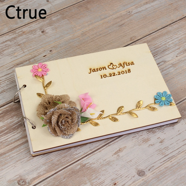 2019 21 5cmx15cm Personalized Wedding Guest Book Guestbook With Flower Diy Custom Engraved Wedding Photo Wooden A5 Paper Album From Youerwedding