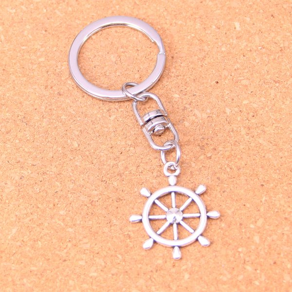 New Fashion Keychain 28*24mm ship's wheel helm rudder Pendants DIY Men Jewelry Car Key Chain Ring Holder Souvenir For Gift