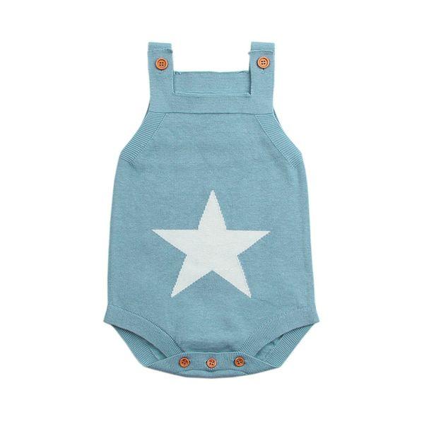 Summer Sleeveless Bodysuits For Boys Onesie White Star Knit Newborn Baby Girls Coveralls Grey Toddler Sunsuit Children Body Suit