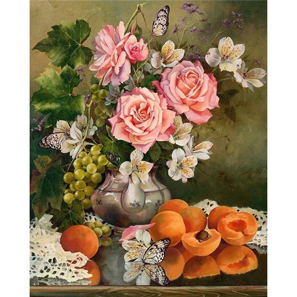 2015 Newest 3D Diy Diamond Painting Pink Roses Flowers In vases Diamond mazayka Full Rhinestone Cross Stitch kit For Living Room