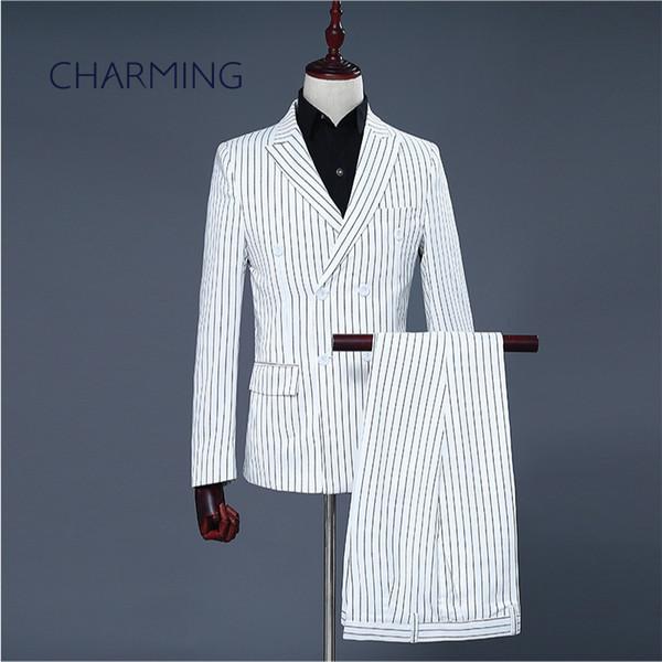 Abito uomo gessato bianco Tessuto a righe bianco Adatto per abiti da uomo cantante ospite di nozze Abiti da uomo 2 pezzi (giacca + pantaloni)