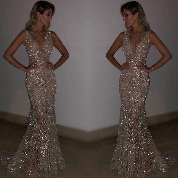 Bkld mulheres elegantes 2018 new maxi evening party brilhante lantejoula longo dress sem encosto sem mangas sexy ver através do vestido de malha plus size