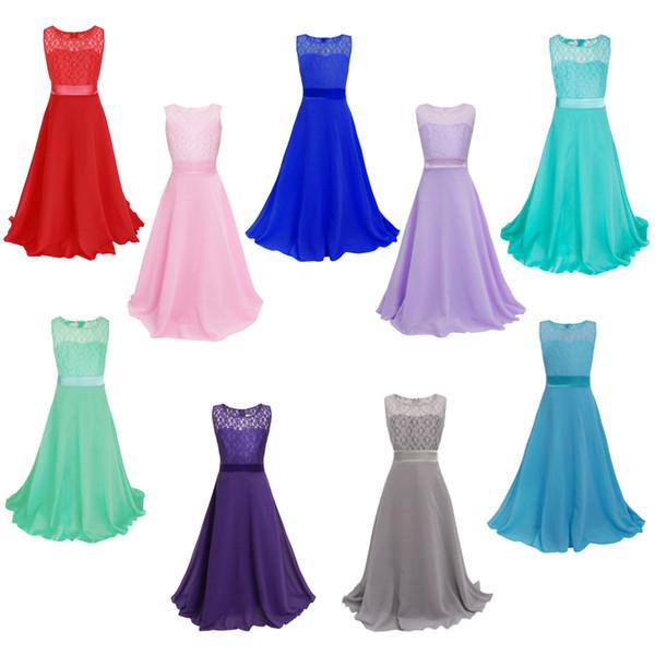 2018 einzelhandel Spitze Blumenmädchen Kleid Kinder Kinder Schöne Hochzeit Kleid Mädchen Formale Party Pageant Lange Prinzessin Kleid 11 Farbe