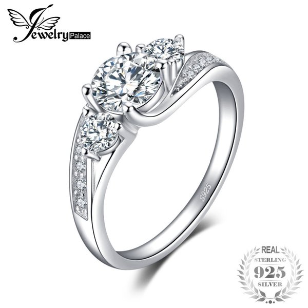 JewelryPalace Classict Cubic Zirconia Engagement Promise Wedding Ring 925 Sterling Silver Birthday Present For Girlfriend S18101001
