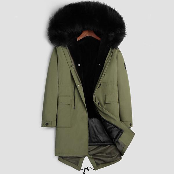 Abrigo de piel real para hombre Abrigo largo de invierno Abajo Parka Sudaderas con capucha de lana Tops -30 grados Ropa más tamaño Abrigo abrigo 2018