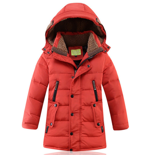 Rlyaeiz Winter Jackets For Boys 2018 Fashion White Duck Down Thicken Fleece Warm Children Coats Boy's Mid-long Parka Overcoat