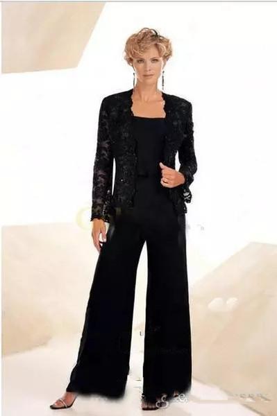Mousseline noire mère de la mariée pantalon costume avec veste en dentelle bretelles spaghetti mère du marié robes plus la taille des costumes de soirée de mariage