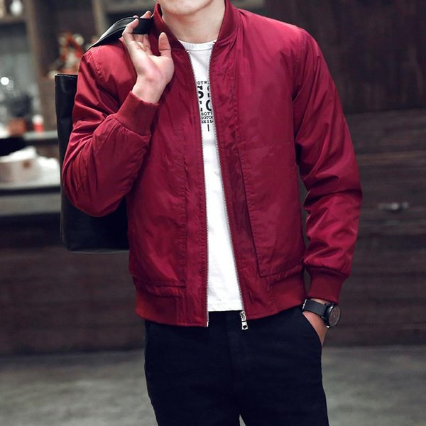 Jacket Windbreader Mens Jacekt Stand Collar Polyester Long Sleeve Solid Color Zipper Pocket Casual Slim Spring Autumn Ourdoor Wear