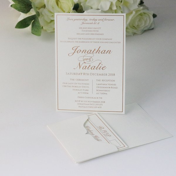 Compre 50 Tarjetas De Invitación De Boda De Bolsillo De Oro Plata Personalizadas Frustradas Rsvp Tarjetas De Deseos Bien A 260 84 Del