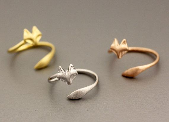 5pcs cute small fox adjustable ring fox tail ring simple cat animal lady pet charm ring for little princess wedding lucky happy jewelry
