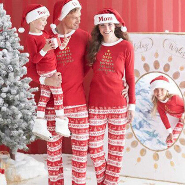 2018 New Year Family Christmas Pajamas Family Matching Outfit Father Mother Daughter Girl Boy Clothing Sets Pyjamas Look