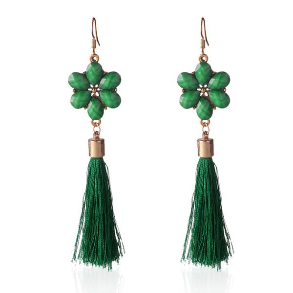 Vintage Bohemian Jewelry Flower Long Tassel Crystal CZ Pendant 6 Colors Fashion Women Wedding Dangel Drop Earrings haif
