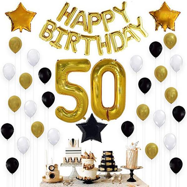2018 Fashion 50th Birthday Balloon Set Black Gold Party Decoration Aluminum Film Foil
