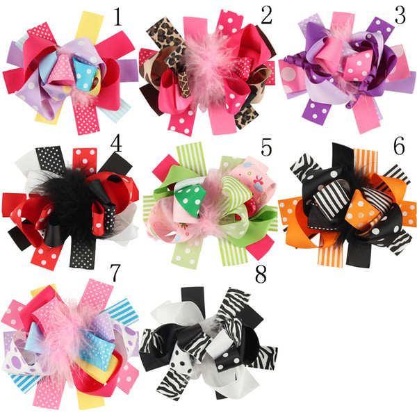 16pcs Halloween Christmas Baby Girl Clip Beautiful Feather Colorful Bow Hairpin Children Holiday Hair Accessories HC024