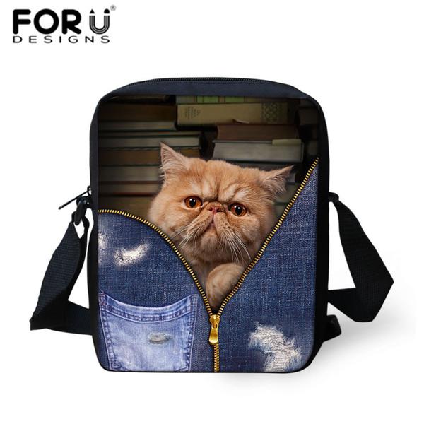 FORUDESIGNS Bolsas de escuela para niños Denim Cat Dogs Impreso Bookbag Moda Niños Crossbody Bag Chicas lindas Travel Hombro Totes