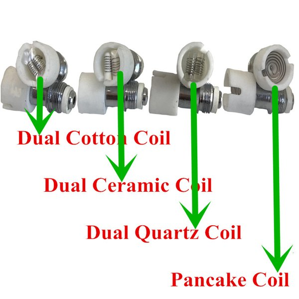 dual quartz wax coil Ceramic Cotton Pancake rebuildable atomizer core for M6 Glass globe dry herb vaporizer DHL free to USA