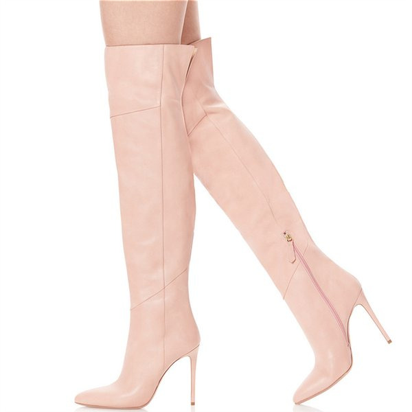 Big Size 46 Women Shoes Long Over Knee Hight Boots Black Pink Leather High Heels Pointed Dress Ladies Motorcycle Bota Feminina