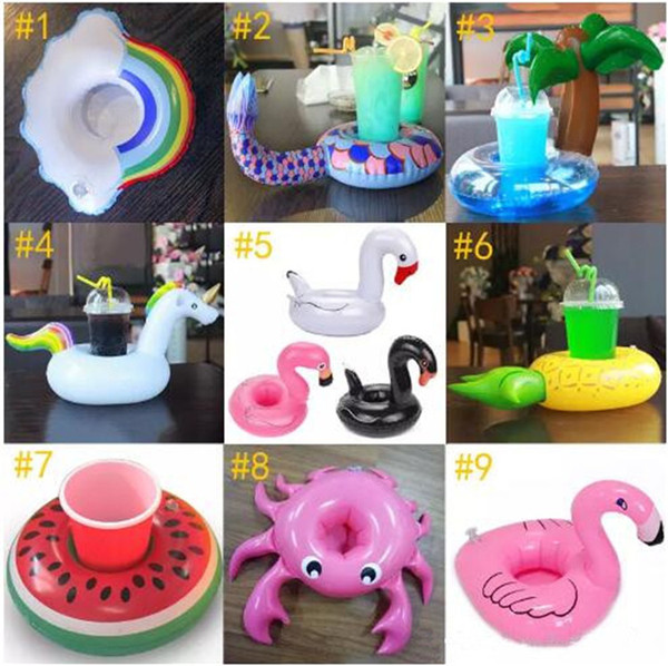 9 Style Inflatable Drink Holder Swan Cup Unicorn flamingo mermaid Holder Outdoor Swimming Bath Kids Toys Water Floating Party toys B11