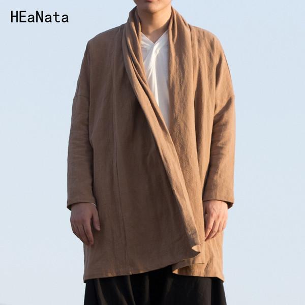 Homens De Alta Qualidade De Linho De Algodão Jaqueta Longa Estilo Chinês Kongfu Casaco Masculino Solto Kimono Cardigan Casaco Trench Coat Jaqueta