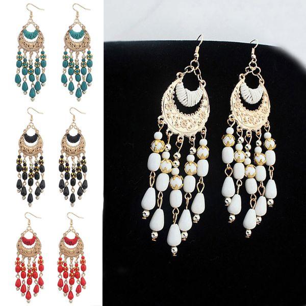 Earrings in 925 Sterling Silver with Silk Fabric Tassel in 10 Colors 6cm Long