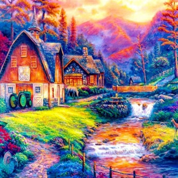 5D Diy diamond painting diamond embroidered rhinestone painting wedding decoration home decoration gift color mountain river house