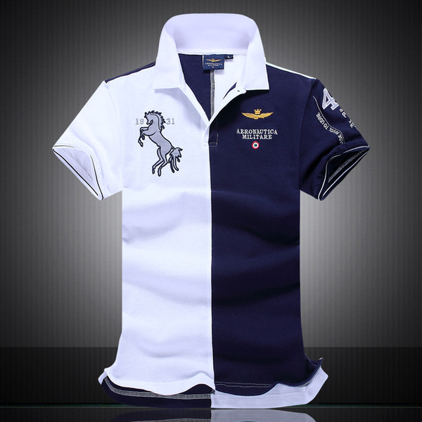 top popular 2018 New Designer Polo Shirts Men Shorts Sleeve Polo Shirts 100% Cotton Embroidery Mens Luxury Designer Patchwork Polo T Shirts 2019
