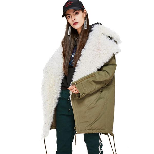 Las nuevas mujeres de moda de piel de cordero gran collar de abajo hacia abajo Abrigo Parka militar casual Outwear de gran tamaño chaqueta de invierno