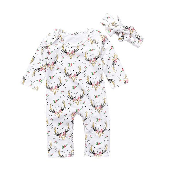 INS baby girl toddler 2piece set outfits Long sleeve Floral Deer Romper Onesies Jumpsuits dress + Bow Headband headwrap reindeer