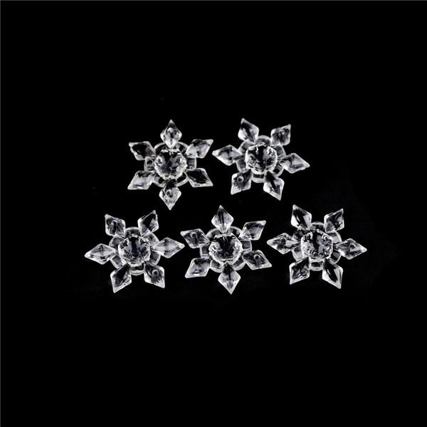 5pcs/pack Crystal Clear Acrylic Snowflakes Christmas Snowflake Ornaments Party Holiday Christmas Decoration Xmas DIY Decor