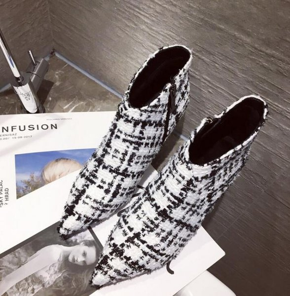 Boots children 2018 autumn and winter new brand pointed stiletto sequins Plaid boots color matching fashion short boots formal occasion part