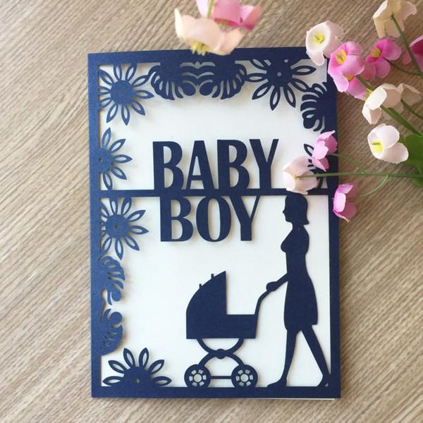 Compre 20 Unids Baby Shower Bautismo Cumpleaños Para Baby Boy Bautizo De Pascua Decoración Invitación De Boda Tarjeta De Invitación A 32 04 Del
