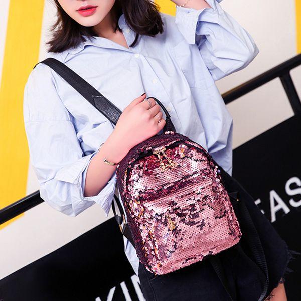 Shining Women Sequins Backpacks Teenage Girls Travel Large Capacity Bags Portable Hip Hop Mini School Bags Street Shoulder Bag
