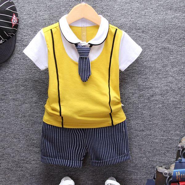 Toddler enfants garçon bébé vêtements ensemble vêtements pour enfants 2 pcs ensembles polo shirt + shorts 2018 coton été t-shirt à manches courtes tops