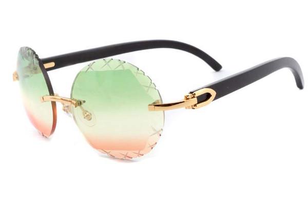 W vivien nueva moda cuernos negros naturales espejo piernas retro gafas de sol redondas 3524012 (A) gafas de sol talladas de alta calidad para lentes de patrón