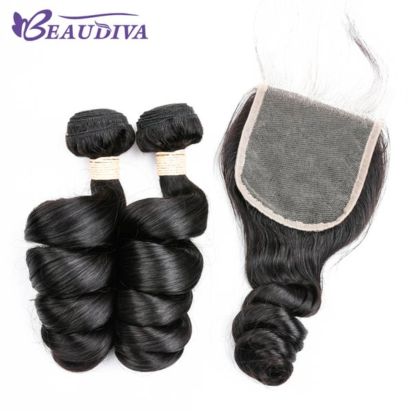 Peruvian Virgin Hair Loose Wave Unprocessed Natural Color Loose Wave Human Hair Bundles With Closure Free Part 2 Bundles with Lace Closure