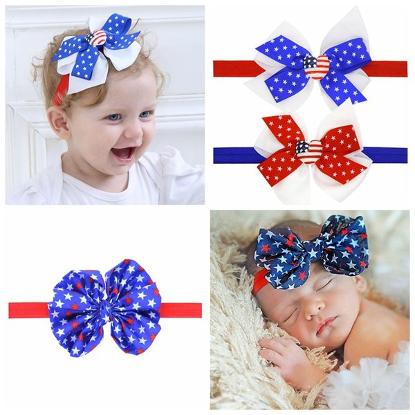 Hot Selling 2018 New American Flag Headband 4th of July Independence Day Knotted Bowknot Bow Girl Baby Hair Accessories 475