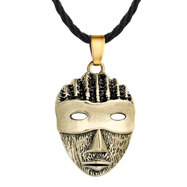 5pcs/lot Silver Bronze Plated Punk Mask Head Pendant Necklaces Women Vintage Rope Chain Colier For Female Mens Classic Jewelry
