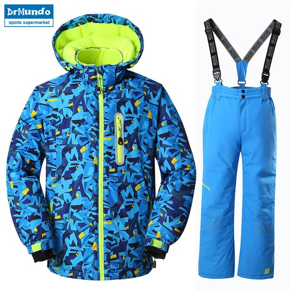2018 NEW Boys Ski Jackets Suits kids Snowboard Jackets Suit Winter Mountain Skiing Clothes Coat Snow Waterproof Outdoor Children Ski Set