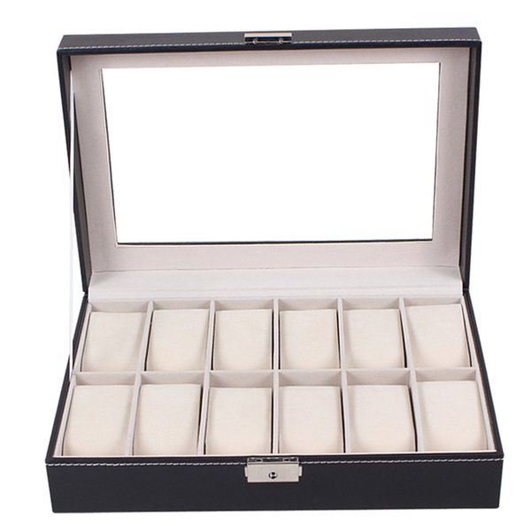 12 Slots Hot Sale Luxury Large Watch Display Case Jewelry Box PU Leather Glass Watches Gift Box Black NEW