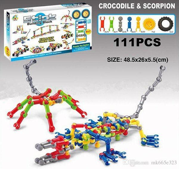 Stick Building Block Sets Small Truck Crocodile Helicopter Dinosaur Disentanglement Block Puzzle Children Preschool Educational Kids Toys
